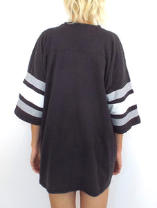 Vintage 90s Oversized Raiders Striped Sleeve Tee