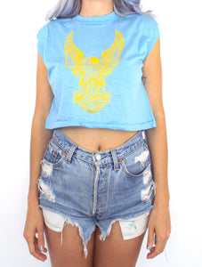Vintage 80s Harley-Davidson Baby Blue Eagle Cropped Muscle Tee
