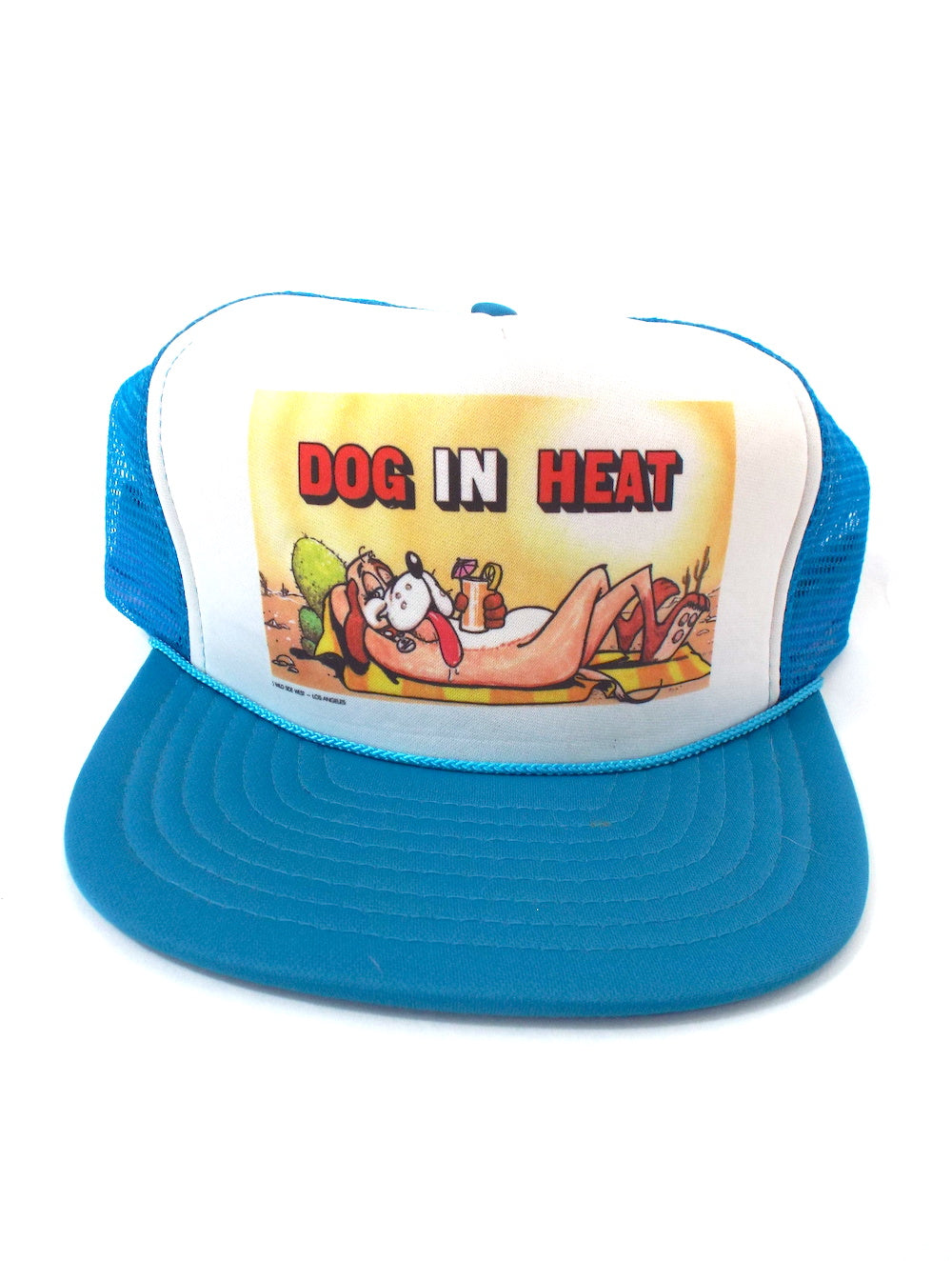 Vintage 80s Dog in Heat Funny Snapback Trucker Hat