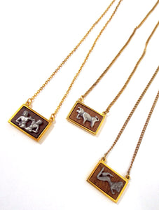 Vintage 70s Faux Gold and Wood Zodiac Charm Necklace - Gemini, Taurus, Virgo