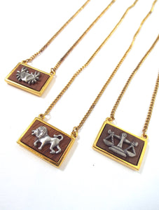Vintage 70s Faux Gold and Wood Zodiac Charm Necklace - Cance,r, Leo, Libra