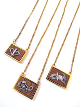 Load image into Gallery viewer, Vintage 70s Faux Gold and Wood Zodiac Charm Necklace - Sagittarius, Scorpio, Capricorn