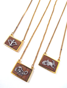 Vintage 70s Faux Gold and Wood Zodiac Charm Necklace - Sagittarius, Scorpio, Capricorn