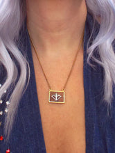 Load image into Gallery viewer, Vintage 70s Faux Gold and Wood Zodiac Charm Necklace - Sagittarius