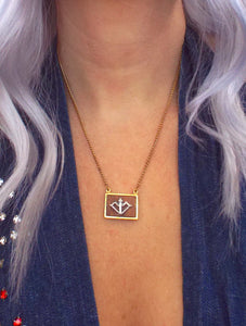 Vintage 70s Faux Gold and Wood Zodiac Charm Necklace - Sagittarius