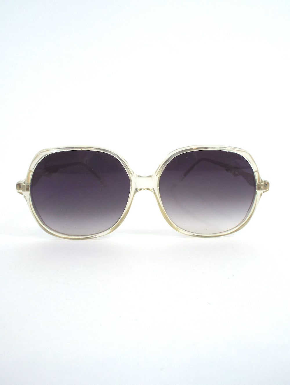 Vintage 80s Large Round Decorative Gold Arm Sunglasses