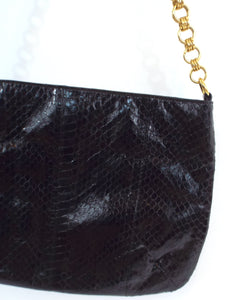 Vintage 80s Black Snakeskin Shoulder Bag Evening Purse