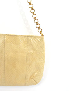 Vintage 80s Cream Snakeskin Shoulder Bag Clutch