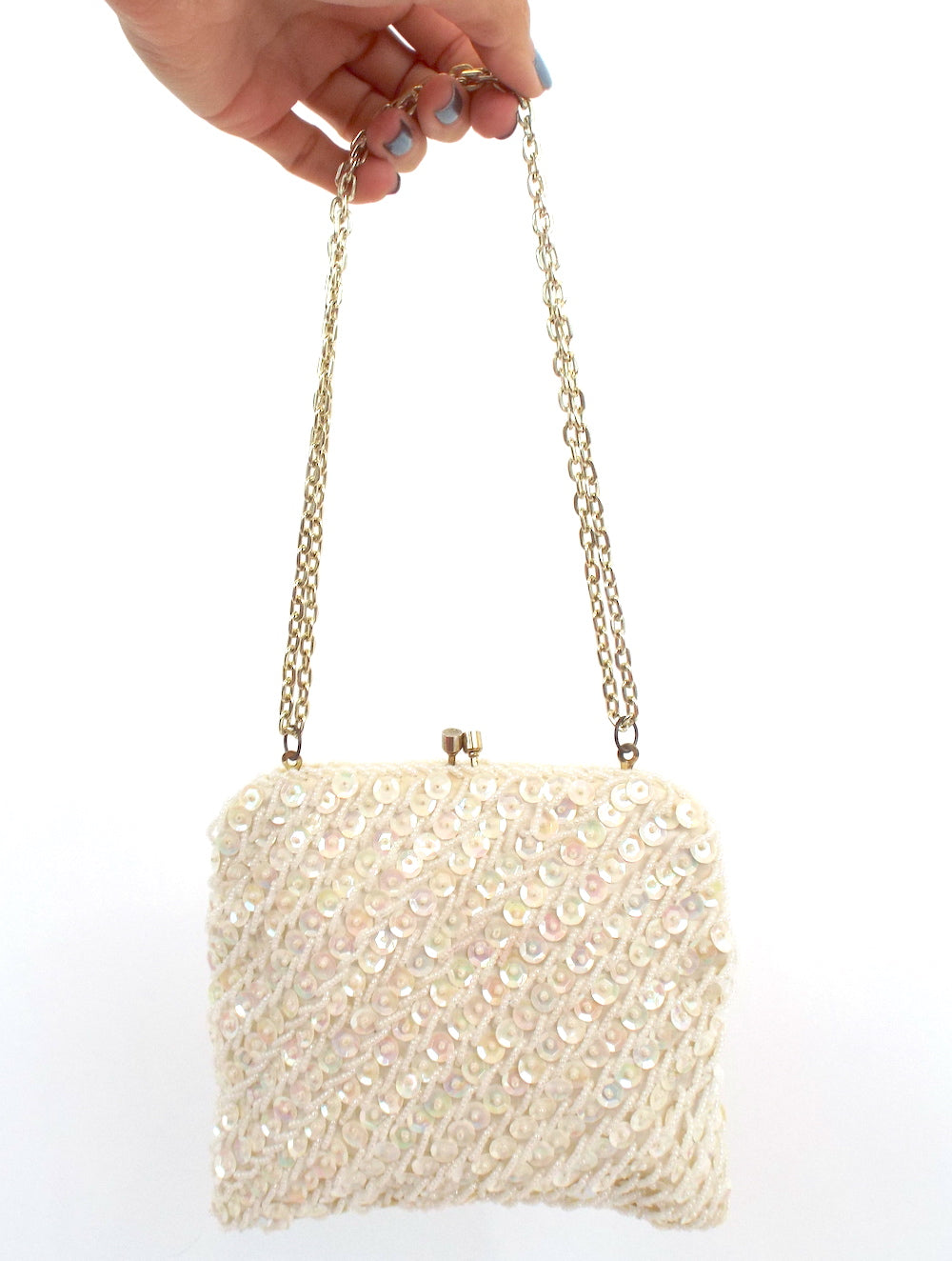 Vintage 80s White Beaded Shoulder Bag