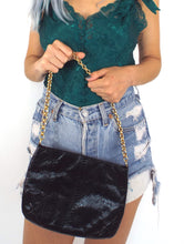 Load image into Gallery viewer, Vintage 80s Black Snakeskin Shoulder Bag Evening Purse