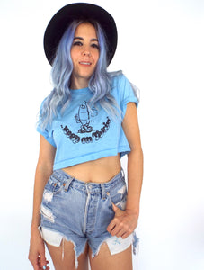 Vintage 80s Keep On Tokin' Cropped Tee Weed Funny Small Crop Top