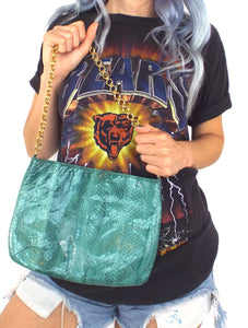 Vintage 80s Green Snakeskin Evening Purse