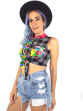 Load image into Gallery viewer, Vintage 90s Floral And Plaid Tie Front Cropped Button Down