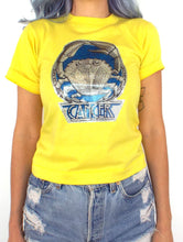 Load image into Gallery viewer, Vintage 70s Yellow Glittery Cancer Zodiac Sign Crop Top Tee
