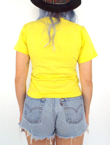 Vintage 70s Yellow Glittery Cancer Zodiac Sign Crop Top Tee