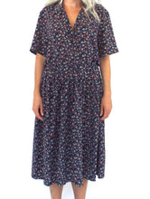 Load image into Gallery viewer, Vintage 90s Purple Chiffon Floral Print Midi Dress