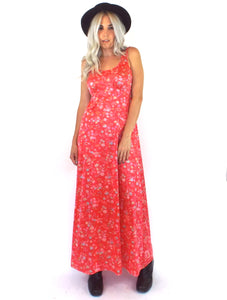 Vintage 70s Silky Red Floral Print Maxi Dress