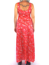 Load image into Gallery viewer, Vintage 70s Silky Red Floral Print Maxi Dress