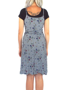 Vintage 90s Gingham and Floral Print Tank Dress