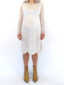 Vintage 80s White Sequined and Beaded Midi Dress