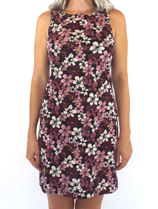 Vintage 90s Pink and Purple Floral Print Mini Dress Size Small