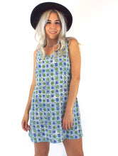 Load image into Gallery viewer, Vintage 90s Blue and Green Floral Print Shift Dress