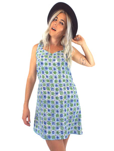 Vintage 90s Blue and Green Floral Print Shift Dress