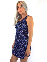 Load image into Gallery viewer, Vintage 90s Purple and Blue Floral Print Mini Dress