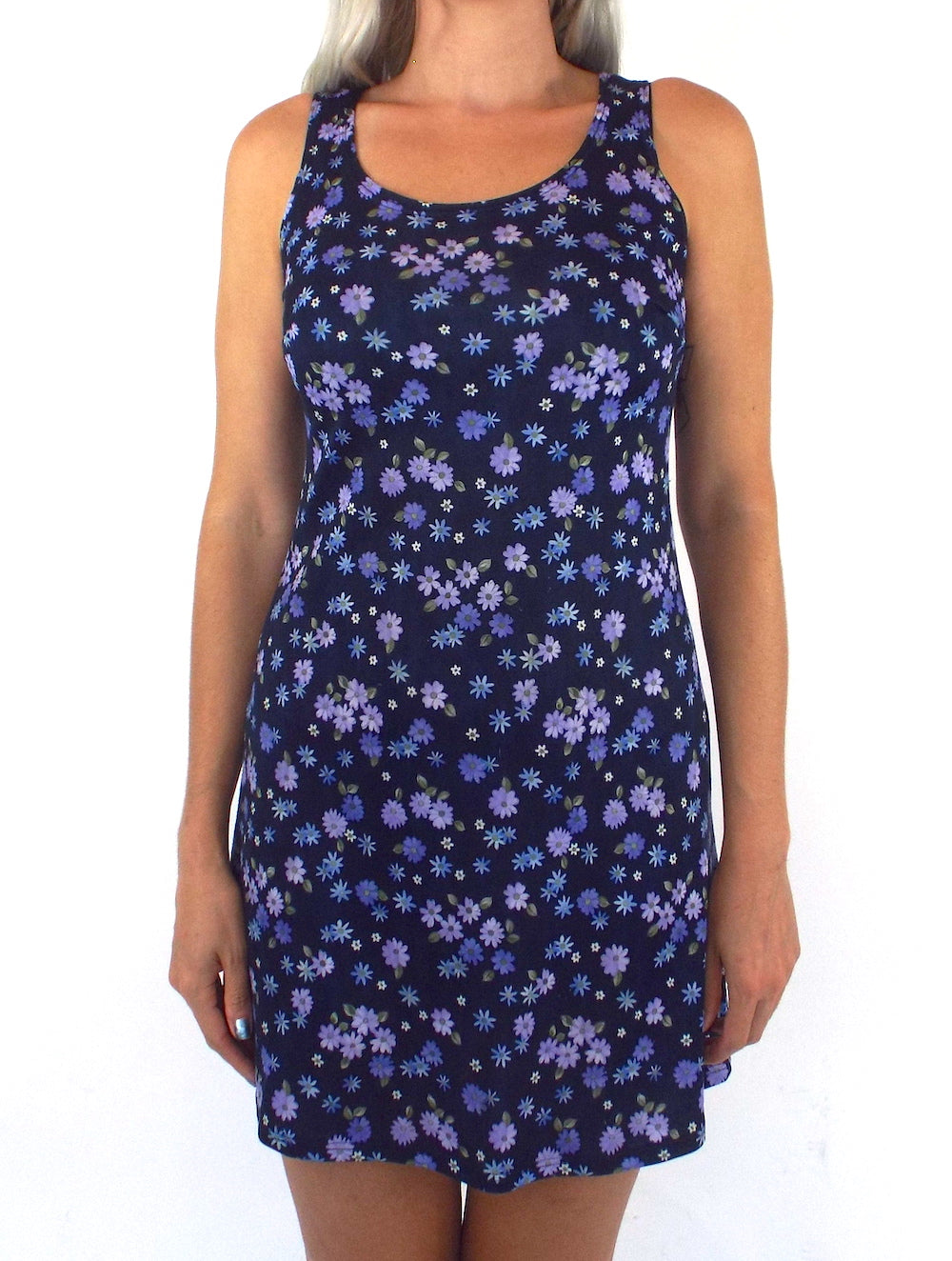 Vintage 90s Purple and Blue Floral Print Mini Dress