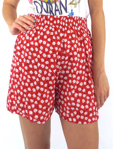 Vintage 90s High-Waisted Red Floral Print Soft Shorts