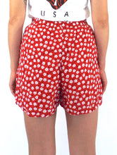 Load image into Gallery viewer, Vintage 90s High-Waisted Red Floral Print Soft Shorts