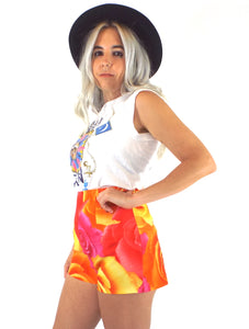 Vintage 90s Neon Floral Print High-Waist Hot Shorts -- Size 26/Small