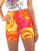 Load image into Gallery viewer, Vintage 90s Neon Floral Print High-Waist Hot Shorts -- Size 26/Small