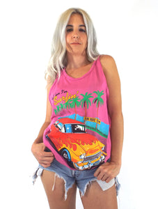 Vintage Tell 'Em I'm Surfin' Pink Tank Top
