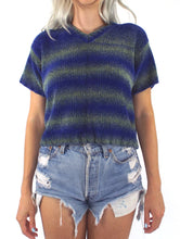 Load image into Gallery viewer, Vintage 90s Blue and Green Ombre Stripe Cropped Sweater