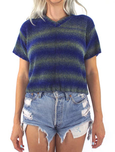 Vintage 90s Blue and Green Ombre Stripe Cropped Sweater
