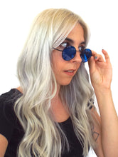 Load image into Gallery viewer,  Vintage 90s Round Blue Tinted Sunglasses