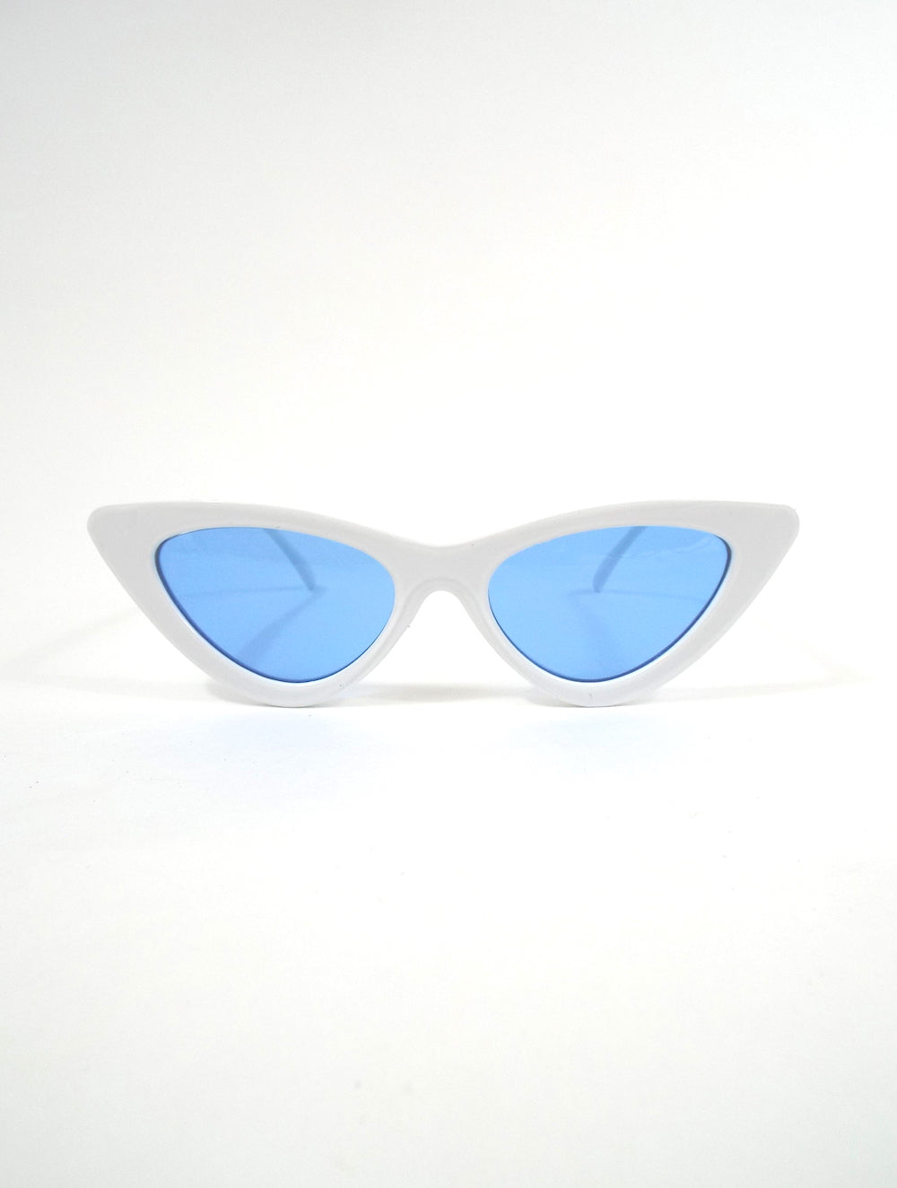 Space Babe White Skinny Cat Eye Sunglasses