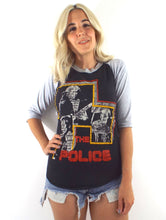 Load image into Gallery viewer, Vintage 80s Distressed Black and Grey The Police Baseball Tee