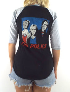 Vintage 80s Distressed Black and Grey The Police Baseball Tee