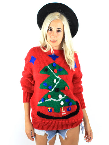 Vintage Red Tree Design Ugly Christmas Sweater