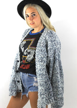 Load image into Gallery viewer, Vintage Blue and White Chunky Knit Oversized Cardigan