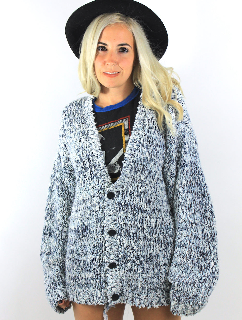 Vintage Blue and White Chunky Knit Oversized Cardigan