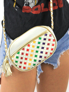 Vintage Rainbow Woven Faux Leather Chain Strap Crossbody Purse