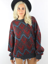 Load image into Gallery viewer, Vintage 80s Cozy Oversized Zig Zag Graphic Sweater