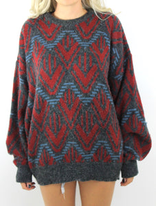 Vintage 80s Cozy Oversized Zig Zag Graphic Sweater