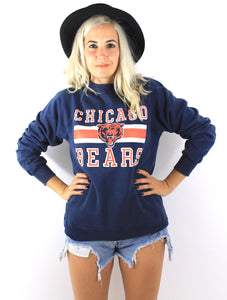 Vintage 80s Navy Blue Fitted Chicago Bears Sweatshirt