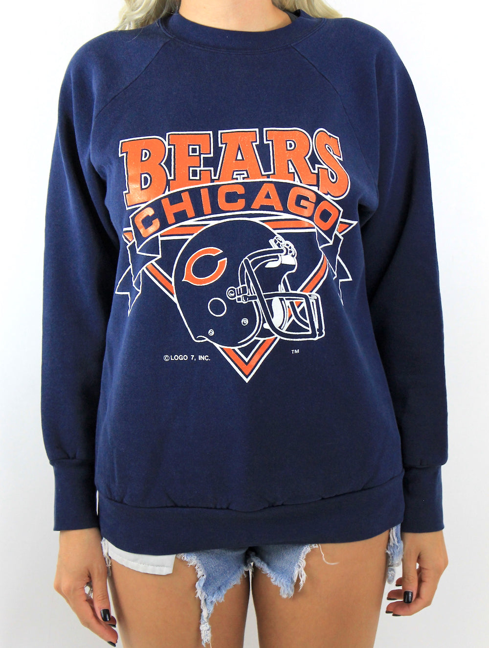 Vintage 80s Navy Blue Helmet Design Chicago Bears Sweatshirt