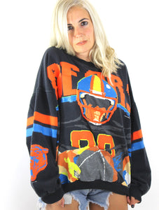 Vintage 80s Chicago Bears Pixelated Video Game Design Sweatshirt Medium