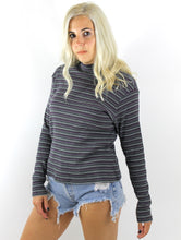 Load image into Gallery viewer, Vintage 90s Textured Purple Striped Turtleneck Tee